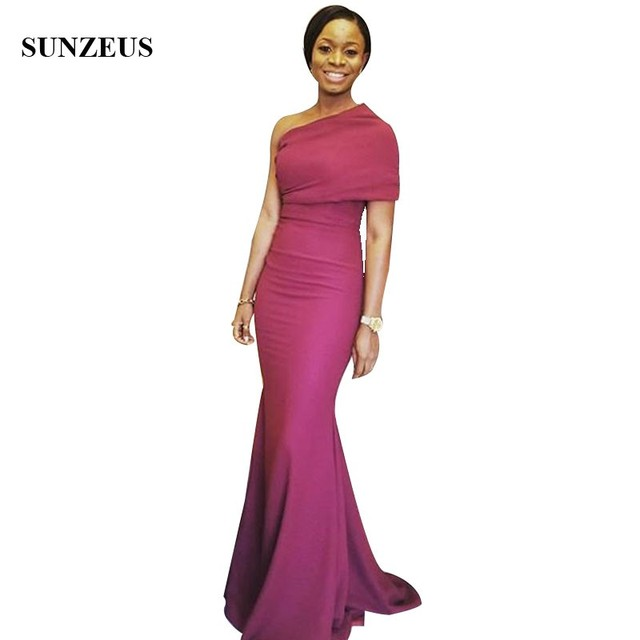Elegant Simple Fuchsia Long Bridesmaid Dresses One Shoulder Mermaid African  Women Party Gowns For Wedding Custom-made Robe 00b01dc61b57