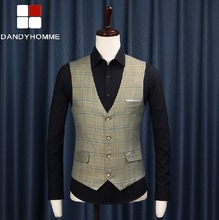 Free Shipping 2015 New Summer Men Retro Plaid Casual Formal Blazers Vest Wedding Business Groom Suits Vests High Quality