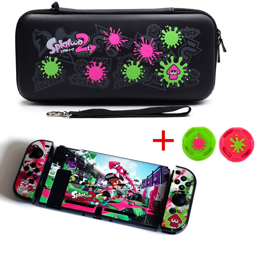 4 in 1 Nintend Switch Bag with Colorful Pattern Hard Crystal Protective Cover Shell Case Kit for NS Nintend Switch+2 thumb girps4 in 1 Nintend Switch Bag with Colorful Pattern Hard Crystal Protective Cover Shell Case Kit for NS Nintend Switch+2 thumb girps