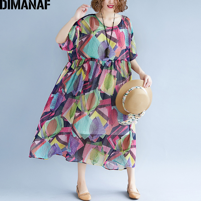 Detail Feedback Questions about DIMANAF Women Dress Summer Plus Size  Chiffon Beach Holiday Vestidos Femme Elegant Lady Sundress Large Clothing  2018 With ... 42a20e6dad51
