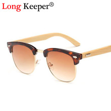 Long Keeper Wood Bamboo Sunglasses Men Semi Rimless