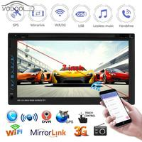 6.95 2 Din Touch Screen WiFi Bluetooth Android Car Stereo MP5 Player USB AUX FM Radio Autoradio GPS Navigator Sp. Mirror Link