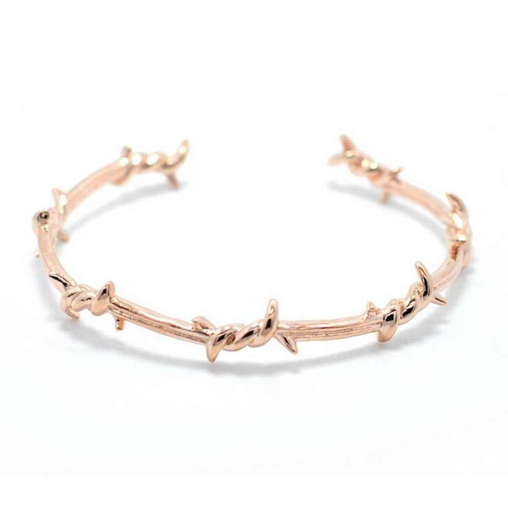 Unique Design Br Steel Twist Thorns Barbed Bracelet Wire Men Bangle Open Cuff Pulsera Jewelry