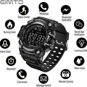 GIMTO กีฬานาฬิกานาฬิกาดิจิตอลสมาร์ทนาฬิกาผู้ชาย Pedometer Smartwatch ผู้ชาย Wist นาฬิกา Man Bluetooth นาฬิกาอิ