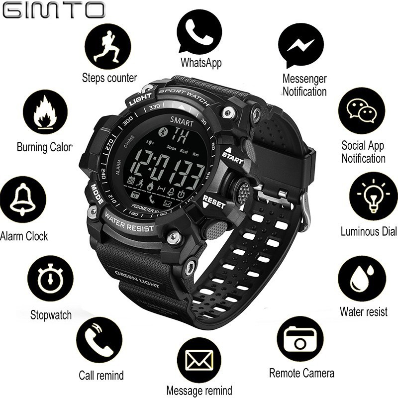 GIMTO Outdoor Smart Watch Sport Watch Men Running Digital Militar Men's Watches Stopwatch Smartwatch Android Electronics Clock