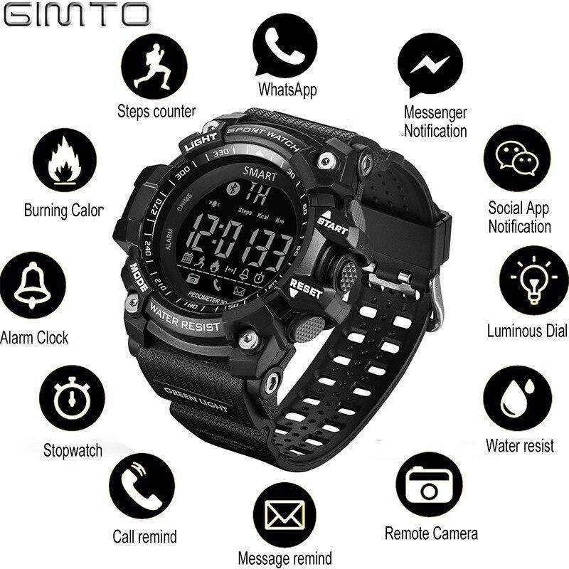 GIMTO Sport Herren Smart Uhr Männer Schrittzähler Kalorien Wasserdichte Smartwatch Elektronische Handgelenk Uhren Für Männer Digitale Bluetooth