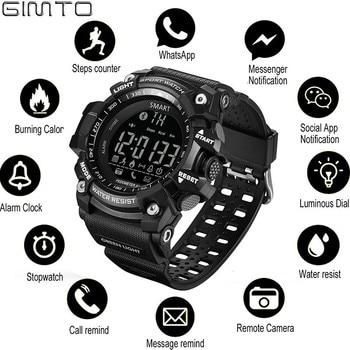 ac836de16317 GIMTO reloj deportivo hombre inteligente Digital Reloj podómetro corriendo  Smartwatch hombres Wist relojes hombre Bluetooth reloj electrónico