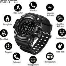 GIMTO في الهواء الطلق ساعة ذكية ساعة رياضية الرجال تشغيل الرقمية ميليتار ساعات رجالية ساعة توقيت smartwatch أندرويد إلكترونيات على مدار الساعة