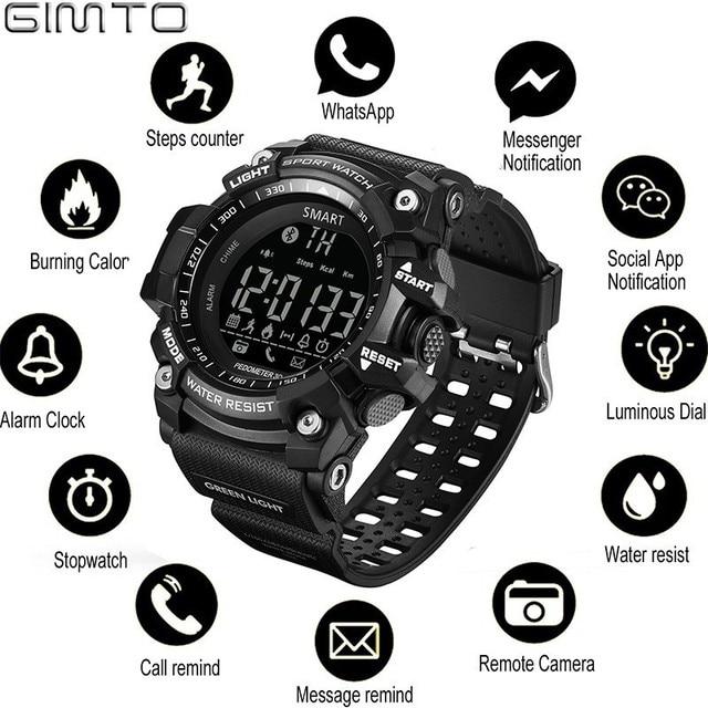 GIMTO นาฬิกาสมาร์ทกลางแจ้งกีฬานาฬิกาผู้ชายดิจิตอลทหารนาฬิกาผู้ชายนาฬิกาจับเวลา smartwatch Android Electronics นาฬิกา|นาฬิกาข้อมืออัจฉริยะ|อุปกรณ์อิเล็กทรอนิกส์ -