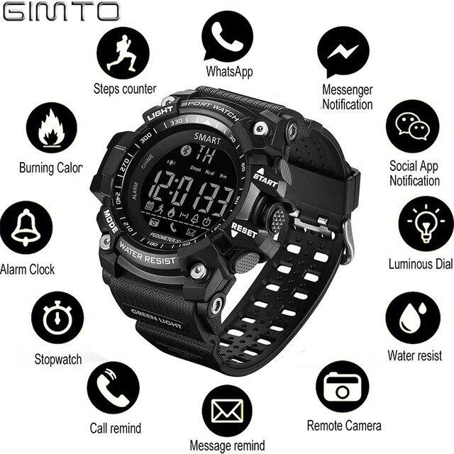 Gimto спортивные Для мужчин S Смарт-часы Для мужчин шагомер калорий Водонепроницаемый SmartWatch электронные наручные Часы для Для мужчин цифровой bluetooth
