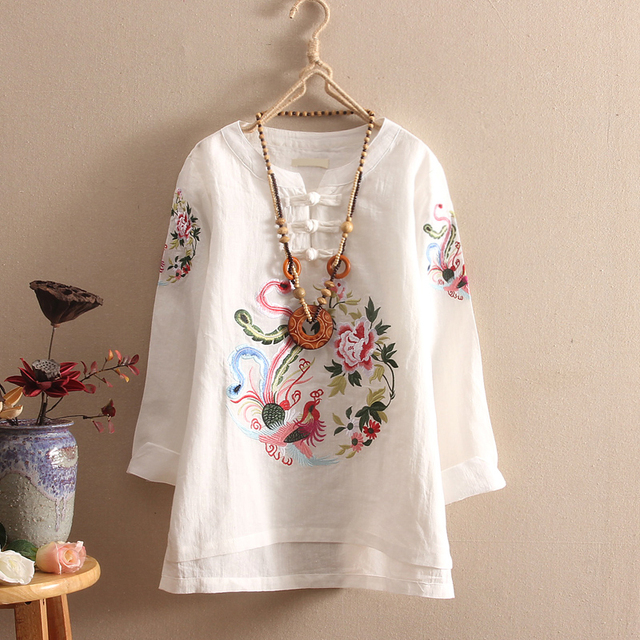 3480973be6be National Flower Embroidery Women Blouse Chinese Style Button Long Sleeve  Autumn Vintage Shirt Cotton Linen Tops