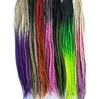 8 10 packs Pervado Hair Kanekalon Synthetic 3s Box Braids Hair Extensions 24100g Olive Green Orange Ombre Crochet Braiding Hair