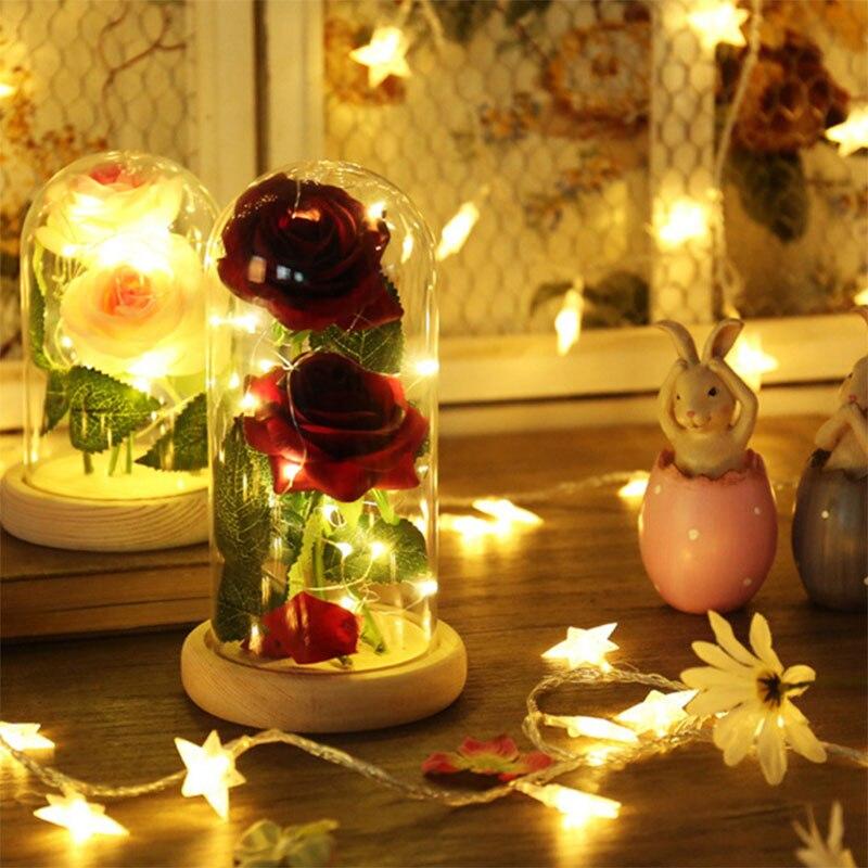 Alimenté LED Rose bouteille chaîne lightembellisfu lampe romantique saint valentin anniversaire cadeau décoration beauté et la bête batterie