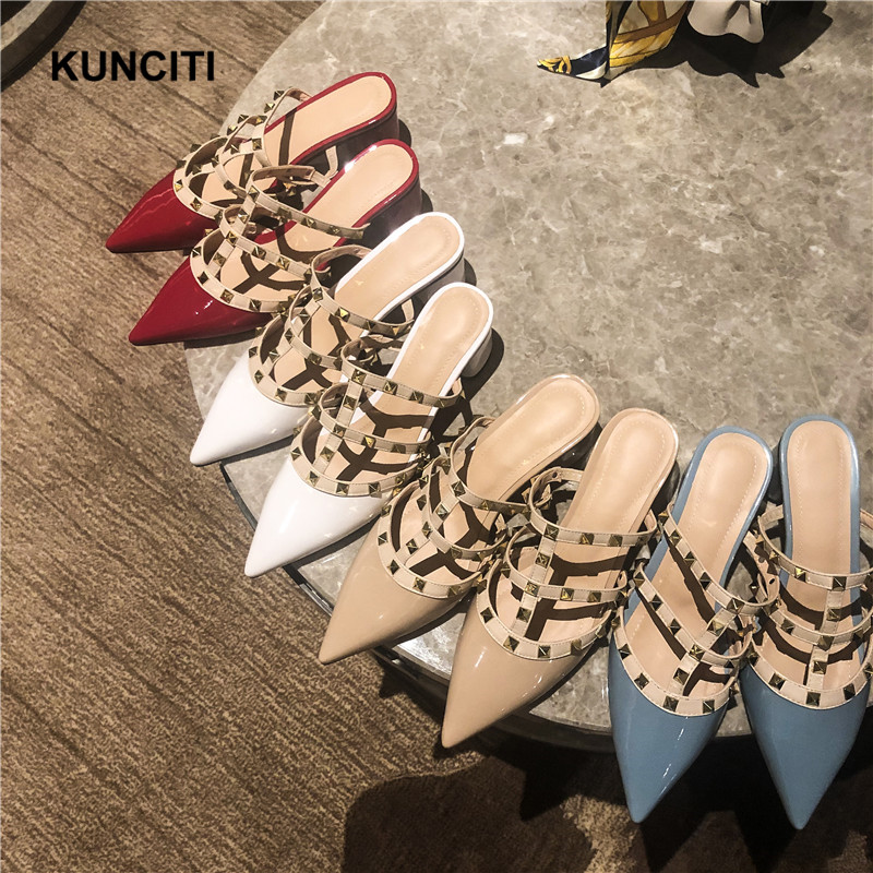 2019 KUNCITI Patent Leather Rivet Slippers Plus Size Pointy Toe Female Sexy Slides Top Quality European