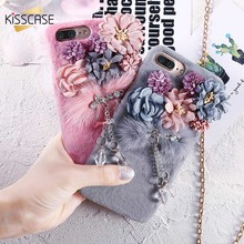 KISSCASE Flower Plush Mink Fur Case For iPhone 8 7 6s 6 Luxury Bling Diamond Furry Case For iPhone 8 7 6S 6 Plus Hard PC Cover