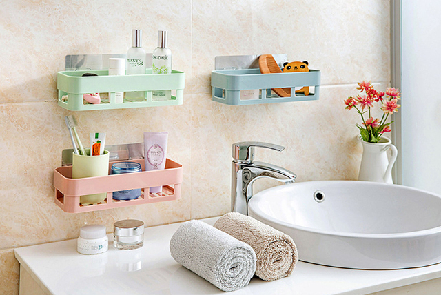 LanLan Bathroom Shelf Adhesive Badkamer Rek Storage Rack Corner ...