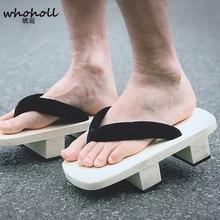 WHOHOLL Original Geta Man Flip-flops Japanese Clogs cosplay costume White Wooden Two-teeth Takashi Male Kimono Slippers Shoes