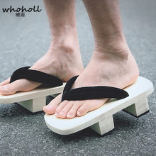 WHOHOLL Original Geta Man Flip-flops slides cosplay White Wooden Two-teeth Japanese Clogs Takashi Male Kimono Slippers Shoes(China)