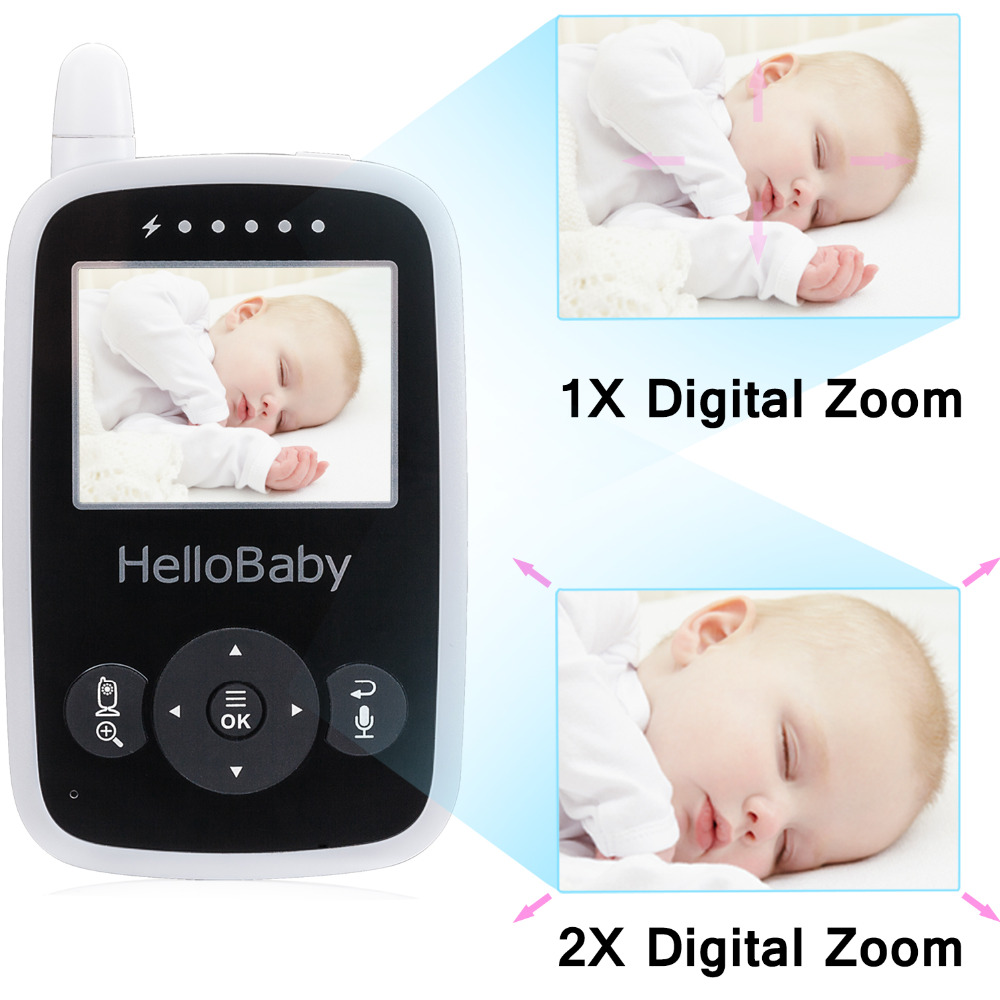 Hello Baby Wireless Video Baby Monitor with Digital Camera HB24, Night Vision Temperature Monitoring & 2 Way Talkback System