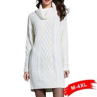 Plus Size Turtleneck Knitted Winter Sweater 3XL 4XL Women Dress Sweaters Warm Thick Oversize Long Sleeve Casual Chi Tops