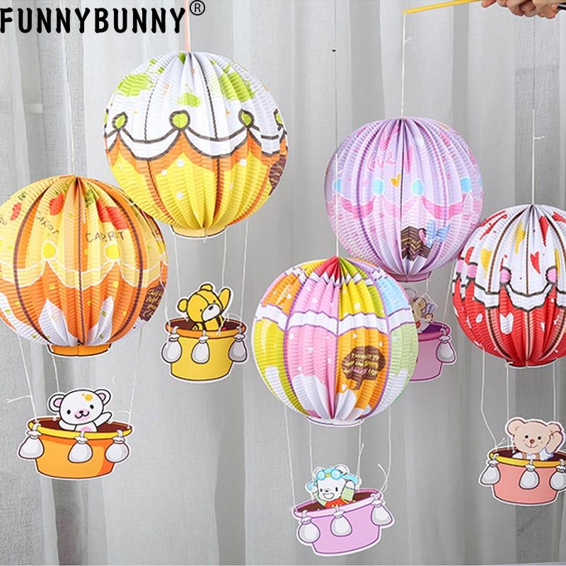 FUNNYBUNNY Birthday party decoration cartoon hot air balloon portable paper lantern dress up charm