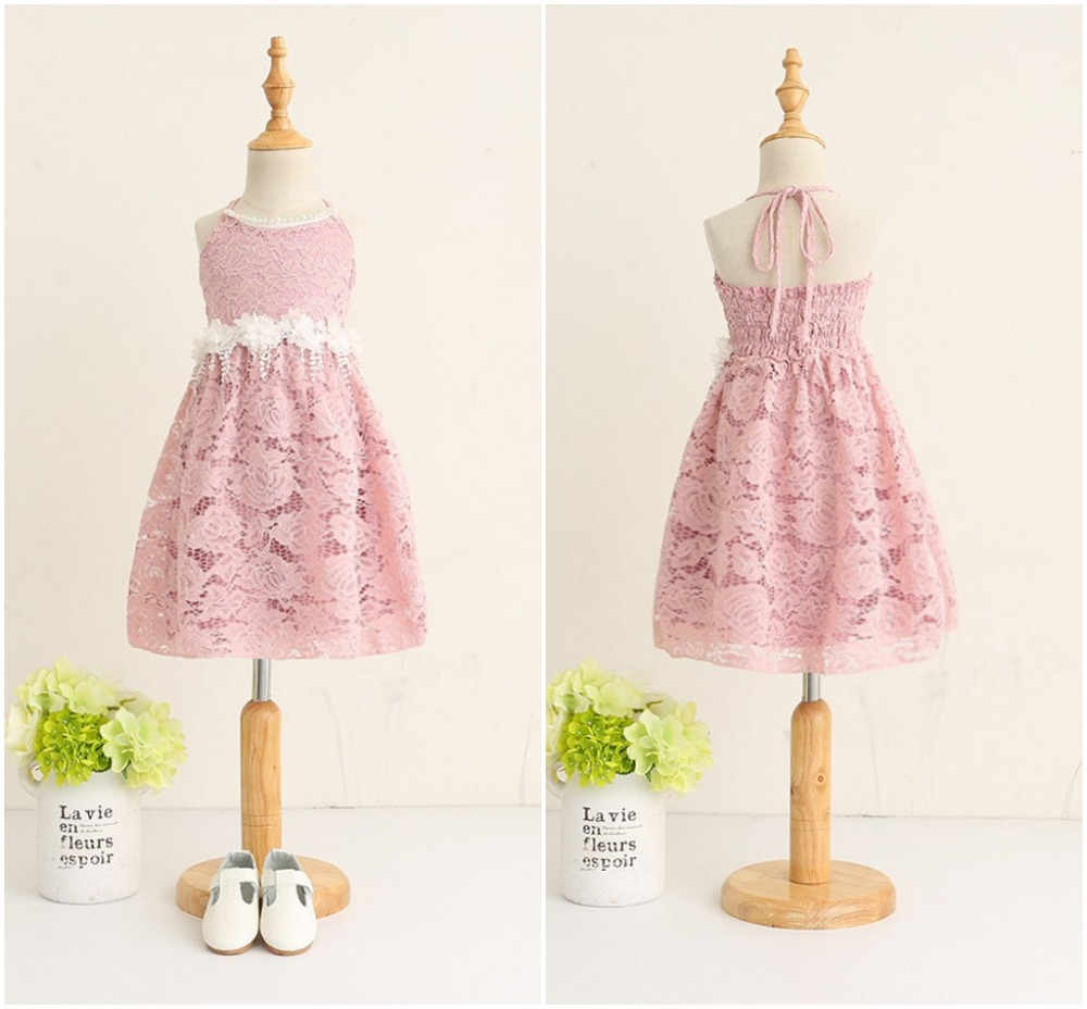 EMS DHL Free Summer Girls Princess Dress Lace Flowers Pearls Halter Dress Tulle Gauze Backless Party Holiday Wear ems dhl free 2017 new lace tulle baby girls kids sleeveless party dress holiday children summer style baby dress valentine