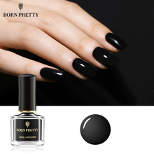 BORN PRETTY Gloss esmalte de uñas de Color negro 6ml Base básica negra barniz DIY Nail Art Polish
