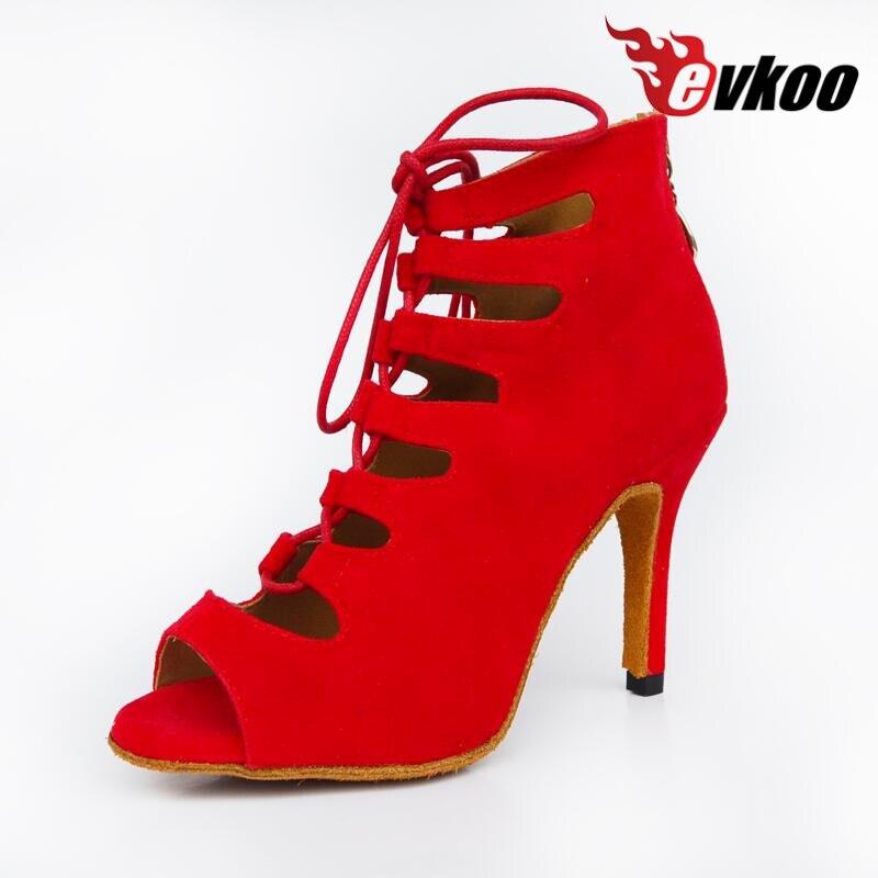Evkoodance New Style vörös / kék / fekete / lila salsa cipő 6/7 / 8.5cm sarok bálterem Latin tánc cipő nők Evkoo-365
