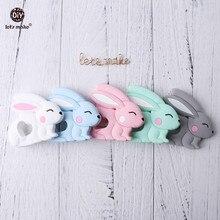 Let's Make Baby Teether 10pc Jade Rabbit Pendant BPA Free Silicone Teether Nursi
