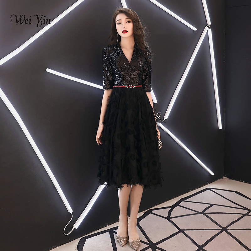weiyin 2019 Black Short   Evening     Dresses   A-Line Lace Women's Fashion V-neck Half Sleeve Party   Dress   WY1275