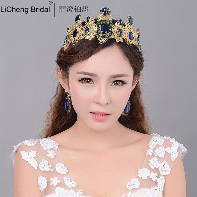 Luxurious Retro style wedding tiara with rhinestone and crystal for marrige 2017 bridal crown