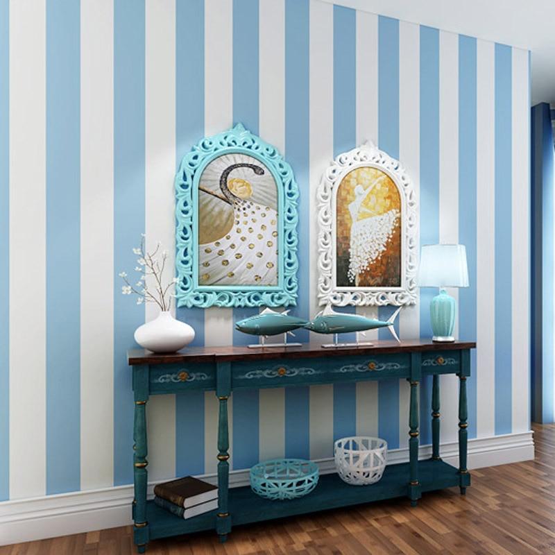 US $23.27 10% OFF|Moderne einfache vlies pulver blau weiß rosa Mittelmeer  vertikale breite gestreifte tapete wohnzimmer kind baby mädchen ...