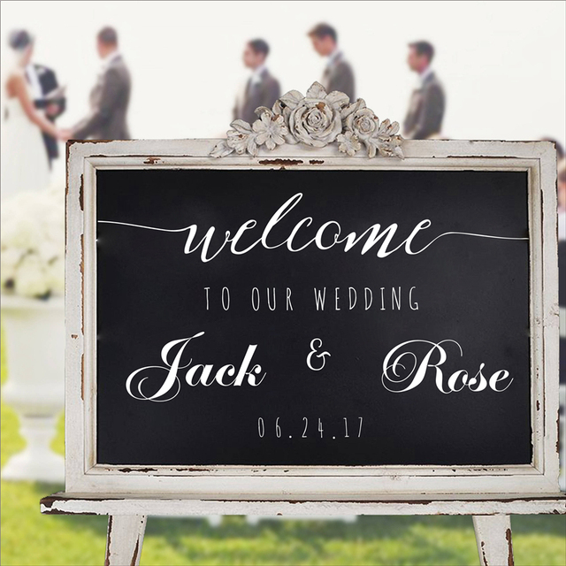 Simple Personalized Wedding Welcome Sign Names And Date Decals