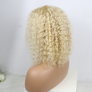 Image 4 - Kinky Curly Lace Front Wig 613 Honey Blonde HD Transparent Lace Short Bob 13x6 Human Hair Wigs Brazilian Dolago Colorful Wig
