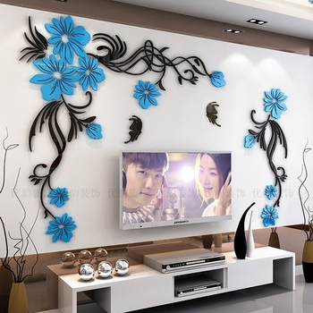 Creative flower 3D stereo acrylic wall sticker background warm decoration Large Size Mural Home Decor Living Room Wall Decals 1