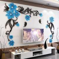 Creative fleur 3D stéréo acrylique autocollant Mural fond chaud décoration grande taille murale décor à la maison salon stickers muraux