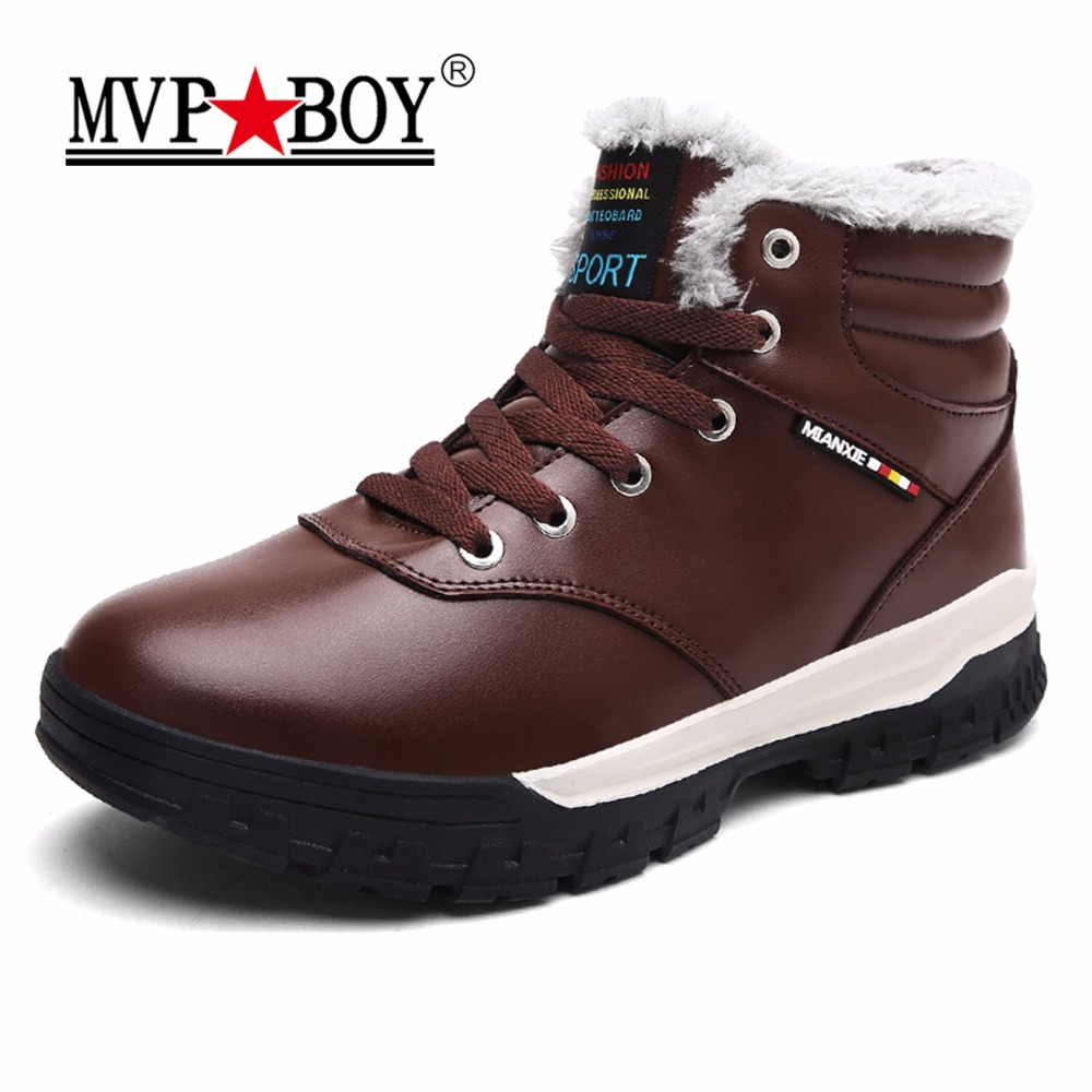 MVP BOY High Quality Winter Men Snow Boots Waterproof Lace-Up Men Leather Shoes,Super Comfort Keep Warm Ankle Rain Boots for Men special package mail between children s rain boots shoes cartoon water hero boy league men s shoes boots