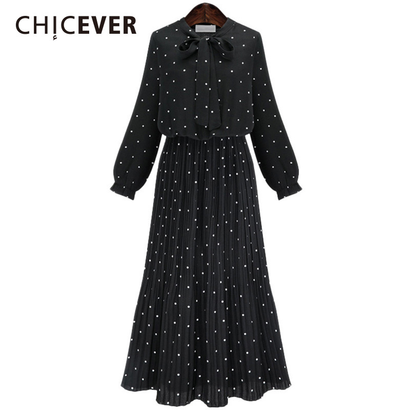 CHICEVER Autumn Chiffon Pleated Women Dress Lonng Sleeve Black Plus Size Dresses Female Clothes Fashion Vestidos Casual 2018