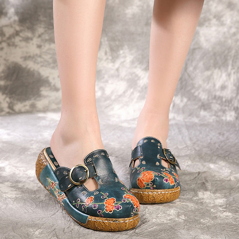 National style Sweet Flowers Comfort Muffin Thick bottom Light Non slip Baotou Leather Manual Half slippers
