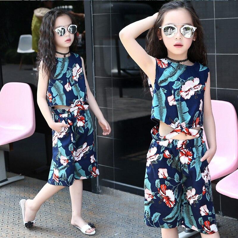 цена  Girls Clothing Sets 2017 New Arrival Summer O-Neck Kids Clothes Suit Children Clothing Girls Tops Sleeveless T-shirts + Pants 14  онлайн в 2017 году