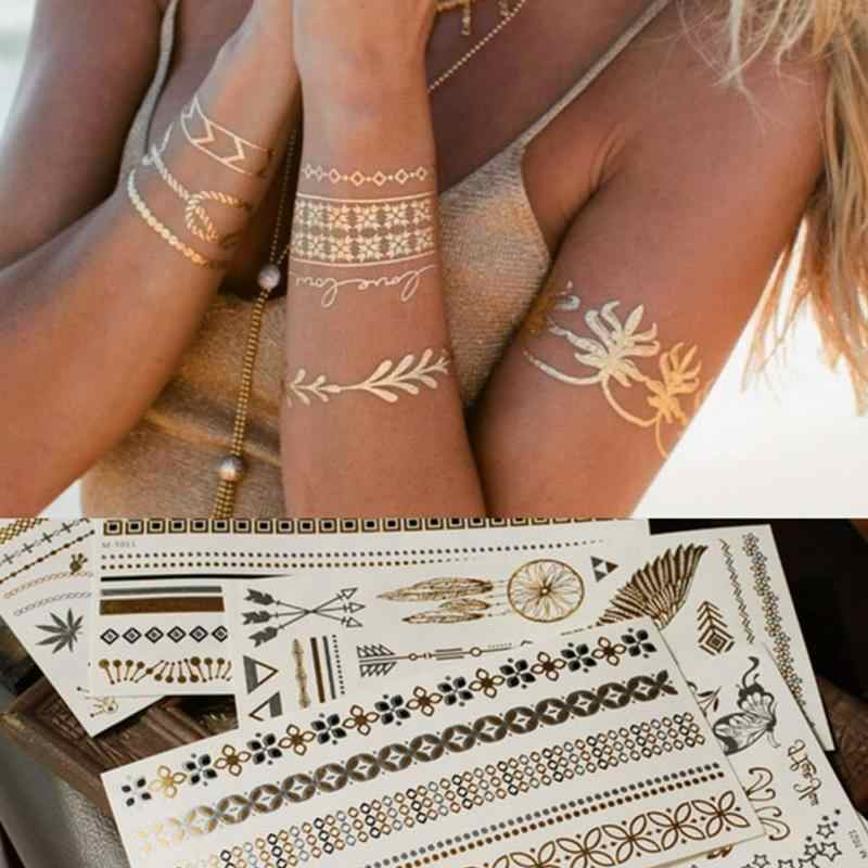 Bohemian Women Men Body Art Gold Metallic Tattoo Sticker Chain Bracelet Fake Jewelry Waterproof Temporary Tattoos Sticker #20