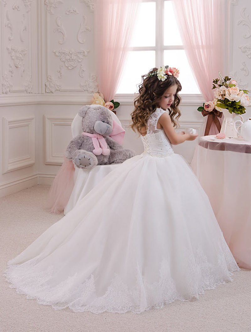 New Arrival Puffy Toddler Ball Gown Abiti Da Comunione Tulle Skirt First Communion   Dresses   for   Girls   Lace   Flower     Girl     Dresses