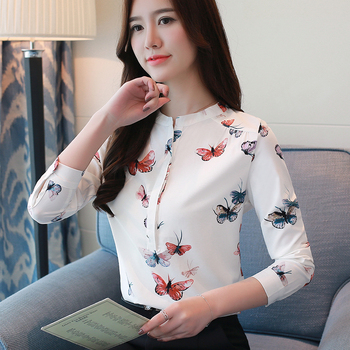 long sleeve women shirts plus size white blouse print women blouse shirt fashion womens blouses and tops office blouse 1042 40 5