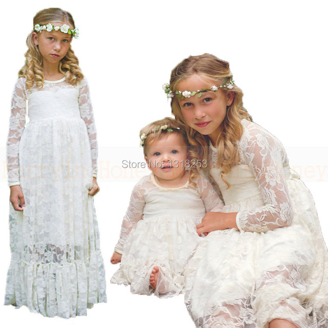 1c0eb6d420 Lace Flower Girl Dresses Long Sleeves Girls Evening Gown Kids Floor Length  vestido communion Dress robe