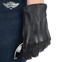 Men Genuine Leather Gloves High Quality Deerskin Autumn Winter Plus Warm Velvet Fashion Five Finger Driving Glove
