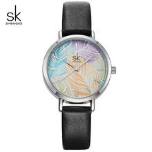 Shengke kreatywny malowane kobiety zegarki damskie moda czarne skórzane zegarki Montre Femme 2019 SK Reloj Mujer zegarek kwarcowy na co dzień tanie tanio QUARTZ Stop Klamra 3Bar Moda casual Odporny na wstrząsy Odporne na wodę K8057 Skóra 12MM 17cm 30mm Papier Hardlex Okrągły