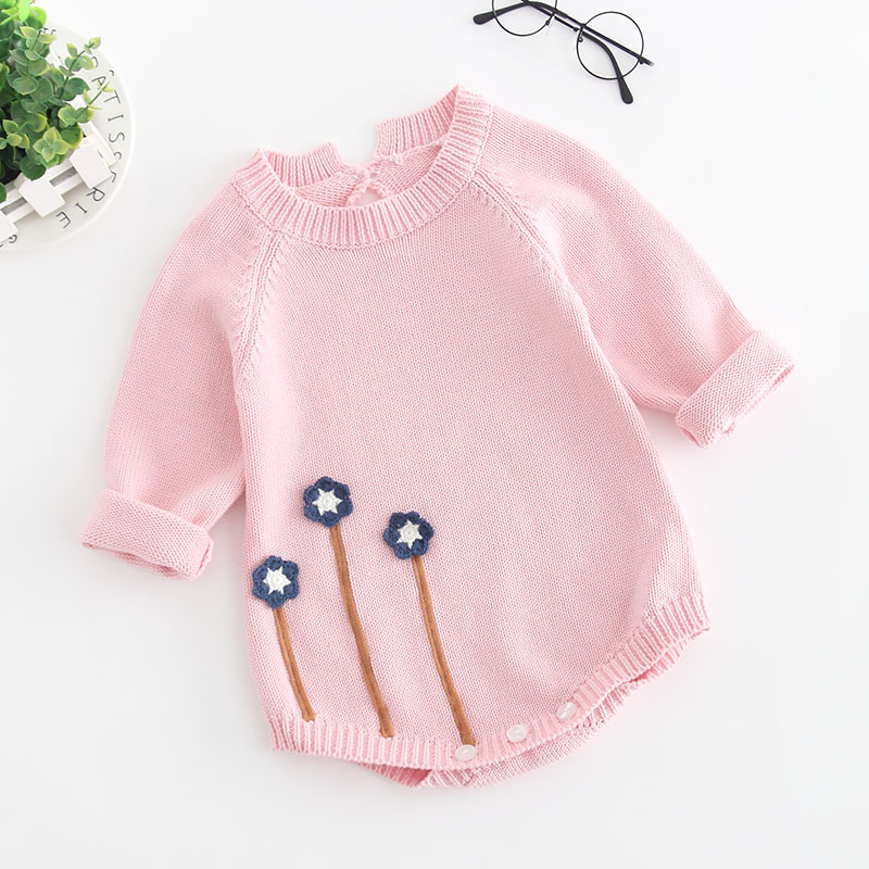 Baby Girls Clothes Autumn Baby knitted Romper Set Infant Newborn Baby Girl Boys Sweater Cotton Baby Jumpsuit For Girls pink