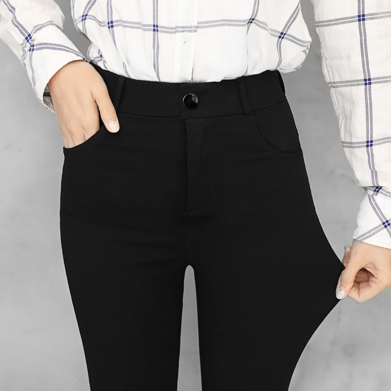 New Wild Black Tight Pencil Pants Ladies Jean Trousers High Waist Straight Leg Zip Belt Plain Pants Women Elegant Crop Trousers
