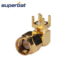 Superbat RF Coaxial Connector SMA Male Plug Right Angle Thru Hole Solder PCB Mount for WiFi GPS GSM 4G LTE DAB+ CB Radio Antenna(China)