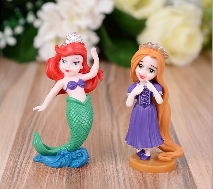 6pcs/set 9.3cm Cartoon Princess Mermaid Doll Table Toy Decors Kids Birthday Festival Take-home Party Guests Favors
